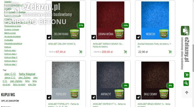 Ceny farb do betonu Aksilbet